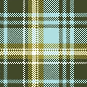 Olive Green Pale Blue Plaid