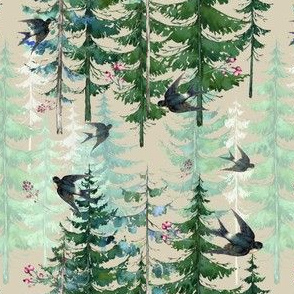 Woodland Forest with birds