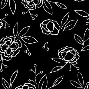 Dark Leaves Floral Outlines (black) - L