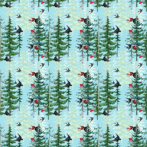 Holiday Forest with Birds