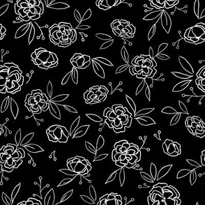 Dark Leaves Floral Outlines (black) - M