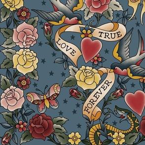 Tattoo me Tattoo you Misty Blue 24x24