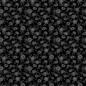 Dark Leaves Floral Outlines (black) - S
