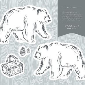 Cut & Sew Woodland Bear Plush for DIY Sewing Projects, Nurseries, & Toddler Rooms