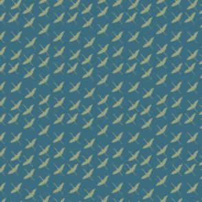 light sage cranes over ocean blue chasing cranes collection