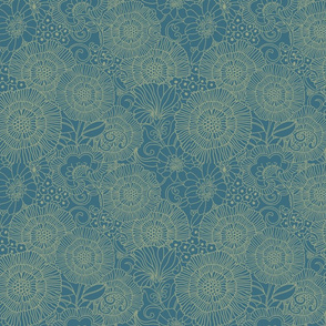 light sage retro over blue chasing cranes collection