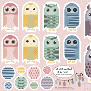Cut-n-Sew   Mod Barn Owl - Pastel (Mobile or Bunting Garland) Fat Quarter Project