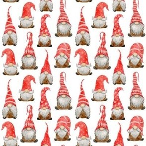 Red Watercolor Christmas Gnomes on white - extra small scale