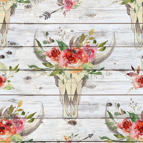 Boho Watercolor Floral Skull on shiplap - large scale