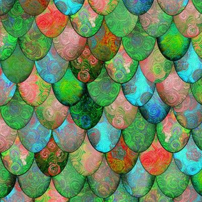 Bright Green, Turquoise, Red + Rose Mermaid or Dragon Scales by Su_G_©SuSchaefer