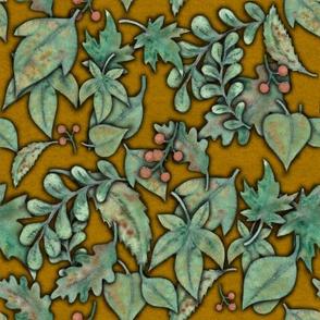 Herbstblaettermuster ocker