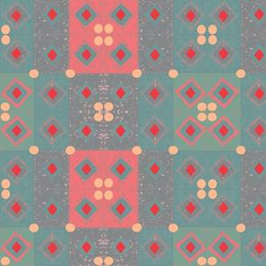 Patchwork Tiles Pattern - Red, Pink Blush, Aqua
