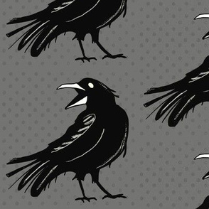 Angry raven on gray – large