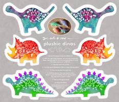 Cut & Sew Watercolour dino plushies
