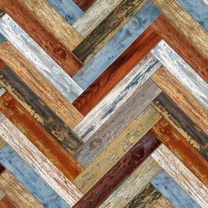 Reclaimed Boat Wood Chevron Tiles Mustard Blue Cream Rust Orange Herringbone
