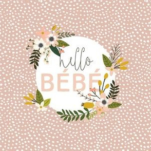 """6"""" square: blush sprigs and blooms hello bébé scalloping dots"""