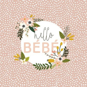 """9"""" square: blush sprigs and blooms hello bébé scalloping dots"""
