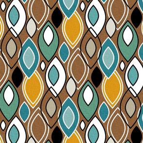 Mid Century Modern Leaves // Turquoise, Caribbean Blue, Marigold, Brown, Mint Green, Khaki, Tan, Black, White // V3