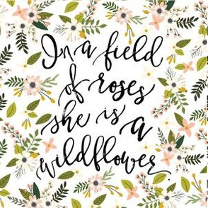 """6"""" square: in a field of roses, she is a wildflower // blush sprigs"""