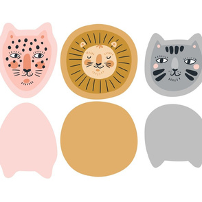 Cute mini pillows - Leopard, lion and cat.