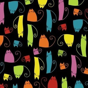 cats - tinkle cat colorful on black - hand-drawn cats