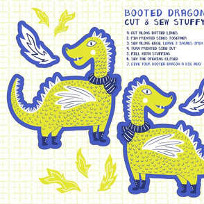 Booted Dragon Cut and Sew Stuffy, Green