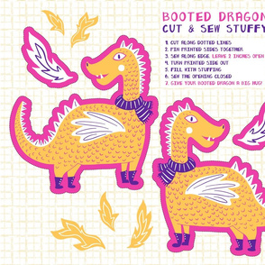 Booted Dragon Cut and Sew Stuffy