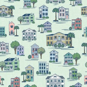 Southern Home Charm in Mint - Medium Scale