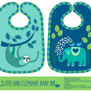 sloth & elephant bib cut and sew kit
