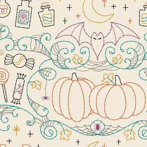 Folk Halloween Embroidery Witchy Webs- Cream// halloween dress witch hat bats candy pumpkins spider web embroidered look fabric wrapping paper