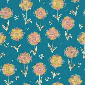 Whimsical Mid Mod Flowers on Teal // pink yellow floral flowers home decor fabric wallpaper