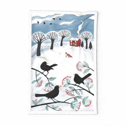 Blackbirds in the snow - Holiday Tea Towel
