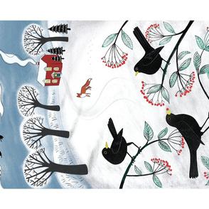 Blackbirds in the snow - Holiday Tea Towel