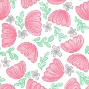 Big Pink Flowers Floral // spring pink flowers kids decor fabric wallpaper