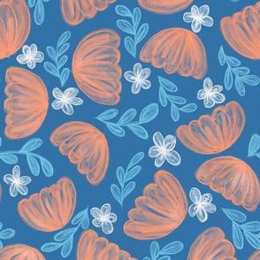 Big Orange Flowers Floral on Blue // fall orange flowers kids decor fabric wallpaper