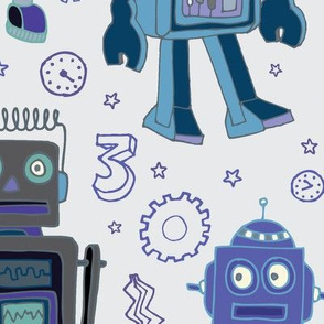 Robots in space - blue and grey Jumbo