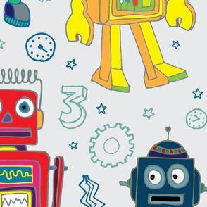 Robots in Space - on grey - Jumbo