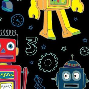 Robots in Space - Black - Jumbo