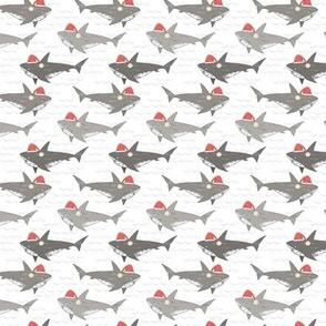 Christmas Shark Attack, novelty Christmas, cute sharks, christmas sharks - extra small scale