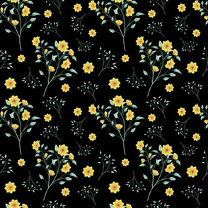 Yellow Floral Splash on black