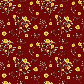Yellow Floral Splash on red
