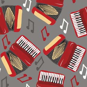 Accordions Musical Notes Red, Gray, Black and Cream