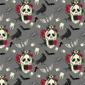 Halloween skull with roses – large