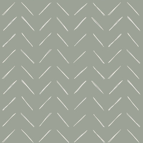 freehand chevron lines bone on sage by Erin Kendal