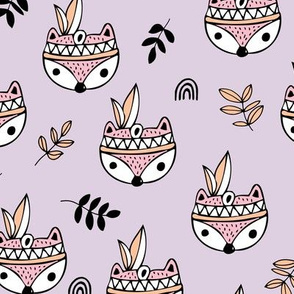 Little indian foxes and feathers garden leaves and woodland animals for kids girls lilac pink
