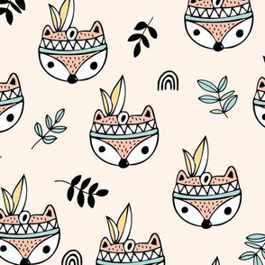 Little indian foxes and feathers garden leaves and woodland animals for kids pastel mint coral yellow