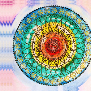 OM - Chakra Mandala - Rainbow - Charm - Large Cut & Sew Round Pillow