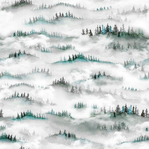 watercolour misty trees foggy forest green MED