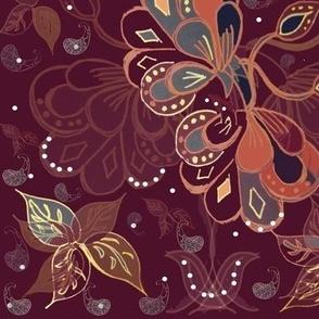 Art Nouveau Bohemian Maximalist Garden - Autumn / Winter  Burgundy