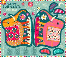 happy elephants pillow // cut+sew